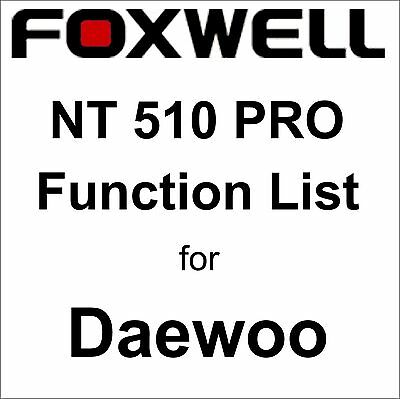 Function List for Daewoo Foxwell NT510 PRO OBD OBD2 scanner pdf-file