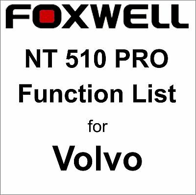 Function List for Volvo Foxwell NT510 PRO OBD OBD2 scanner pdf-file