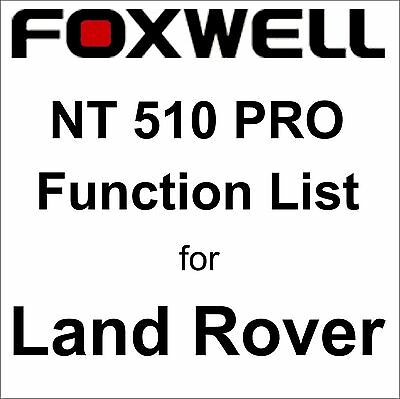 Function List for Land Rover Foxwell NT510 PRO OBD OBD2 scanner pdf-file