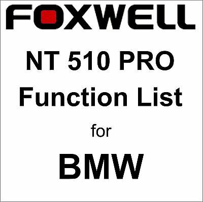 Function List for BMW Foxwell NT510 PRO OBD OBD2 scanner pdf-file
