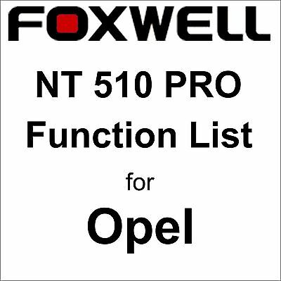 Function List for Opel Foxwell NT510 PRO OBD OBD2 scanner pdf-file