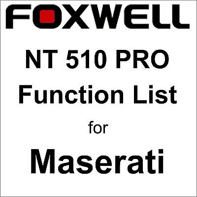 Function List for Maserati Foxwell NT510 PRO OBD OBD2 scanner pdf-file