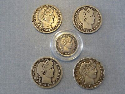 Lot of 5 United States Barber Silver Coins, 4 Quarters & 1 Dime. 90% Silver