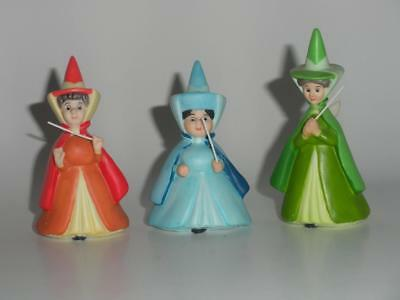 3 Walt Disney Sleeping Beauty Fairies Flora Fauna & Merryweather Figurines
