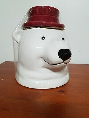 Large White Polar Bear Head with Red Hat Cookie Jar New