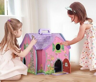 Hinged Portable Fairy Doll House Dollhouse for Small Dolls with 7 Funiture