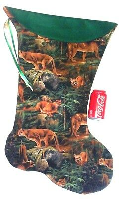 Giant Christmas Stocking Cougar Forest Prowler  Print - Handmade Usa New