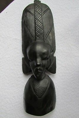 Vintage African Woman Lady Bust Hard Wood Figurine.  Beautifully Hand Carved