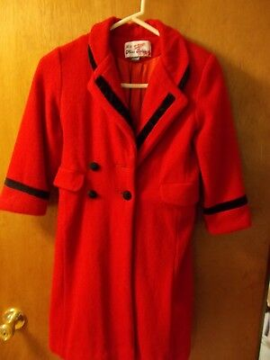 L'il Miss Bobbie Red Wool & Nylon Lined Coat  Made in USA **Free Shipping!**