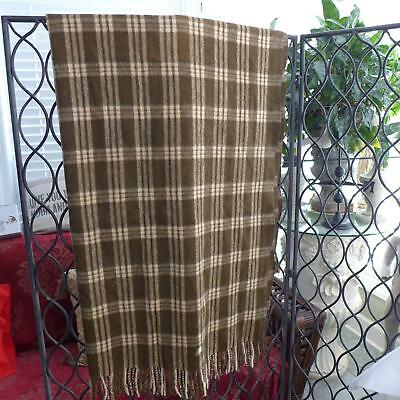 Vtg Marangani Alpaca Wool Throw Blanket Brown Cream Scottish Plaid Fringed EUC