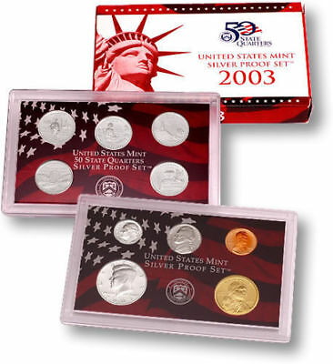 2003-S US Mint Silver Proof 10 Coin Set Complete with Box and COA