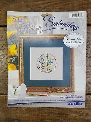 1994 Bucilla Silk Ribbon Embroidery Flowers of the Month DECEMBER NARCISSUS