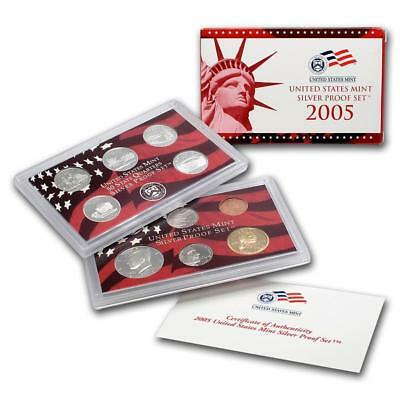 2005-S US Mint Silver Proof 10 Coin Set Complete with Box and COA