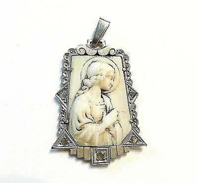 Medalla Art Deco Pendant Virgin Mary Gold Carved Bone And Silver