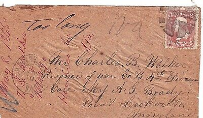 1865 Civil War (POW) Prisoner of War Cover to Point Lookout, Maryland FRONT ONLY