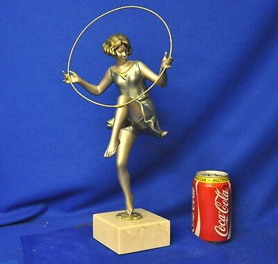 1930 Art Deco Charming Young Dancing Girl & Hoop & Sculpture Signed Rare Antique