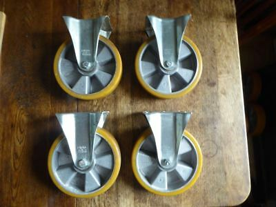 Blickle Fixed Castors with heavy duty wheels set of 4.