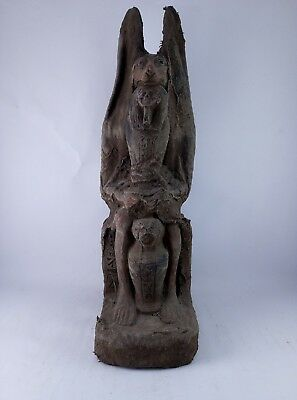 ANCIENT EGYPTIAN STATUE GOD ANUBIS Afterlife and Queen and Canopic Jar Stone Bc