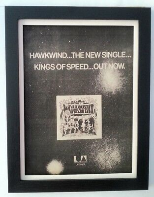 HAWKWIND*Kings Of Speed*1975*ORIGINAL*POSTER*AD*FRAMED*FAST WORLD SHIP