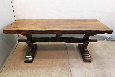 Ancient Large French Antique Monastery Solid Oak Trestle Dining Table Circa 1800