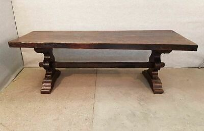 Rare French Antique Massive Solid Monastery Large Oak Refectory Trestle Dining T
