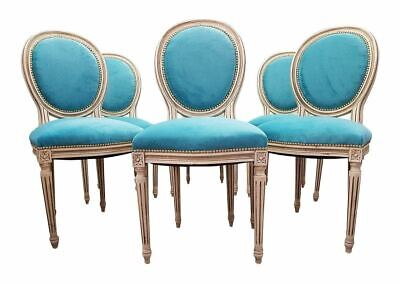 Set of Six Antique French Reupholstered Whitewashed Louis XVI Medallion Dining C