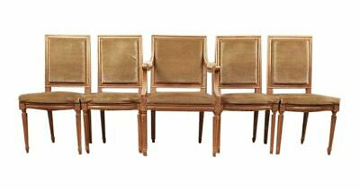 Set of Five French Louis XVI Square Back Vintage Dining Chairs 4 Side Chairs and