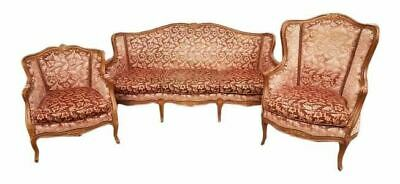 Three Piece French Antique Louis XV Style Carved Parlor Suite Sofa Canape Lovese