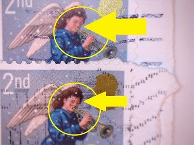 2 Gb Error/variety Used 2Nd Class Sg2789 2007 Xmas Angel Stamps- Skin Pinker 1