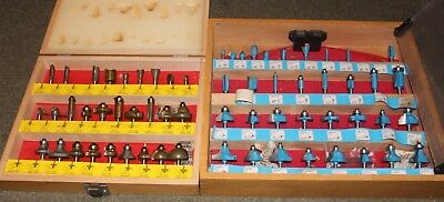 "Job Lot of 62 Router bits including wooden cases 1/4"" Shank"