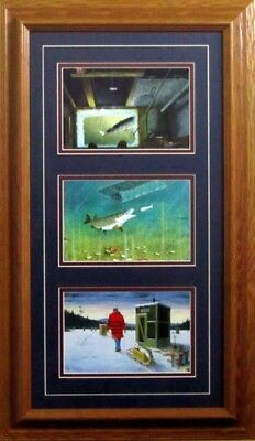 Darkhouse Spearing Trilogy By Les Kouba Framed Ice fishing Print  14 x 24.5