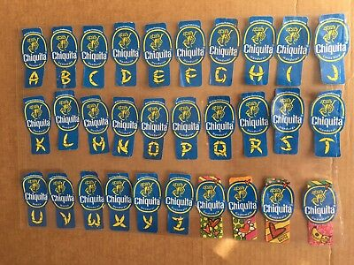 30 Different Chiquita Banana Labels Stickers - Alphabet & Holiday 2018