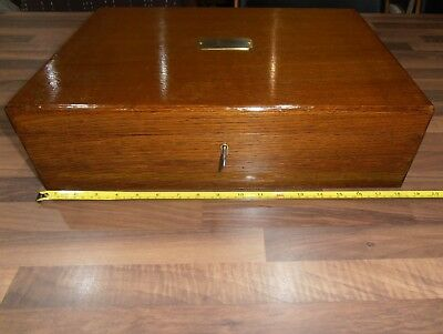 Large  Oak Lined Collectors Box with Brass Handles , lift out tray , lock & key