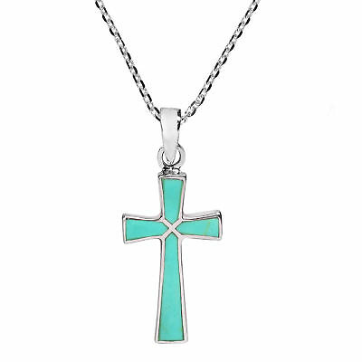 Minimalism Christian Cross Green Turquoise Sterling Silver Necklace
