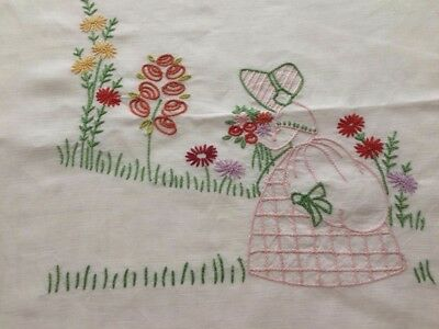 Beautiful Vintage Linen Hand Embroidered Crinoline Lady In Garden Tablecloth
