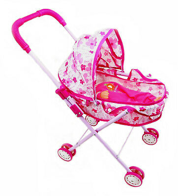 Foldable Dolls Buggy Stroller Pushchair Toy Doll With Baby Pram Kids Girls Gift