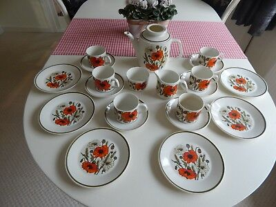 J &G Meakin Poppy Vintage Teaset -Complete -  Great Undamaged Condition