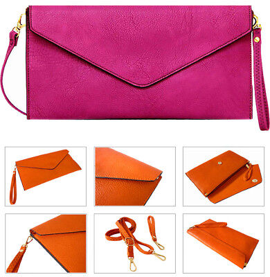 Purple Womens Over Size Clutch Bag Ladies Large Envelope Purse Evening Leather