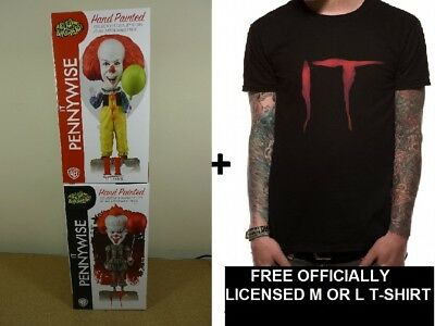 Neca IT PENNYWISE BOBBLE HEAD KNOCKERS 1990 & 2017 VERSIONS + FREE T-SHIRT