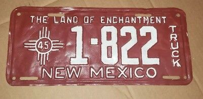 Vintage 1945 new mexico truck License Plate 1-822