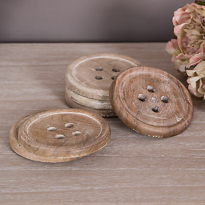 Wooden Button Drinks Coasters Set of 6 Vintage Tea Coffee Table Accessory Home