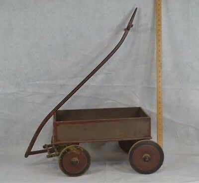 wagon cart pull toy early paint primitive hand made red gray original antique