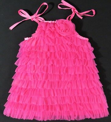 9-12 Mth Mud Pie Baby Girl Sleeveless Top Pink Layered Ruffled Tulle Quilt-Lined