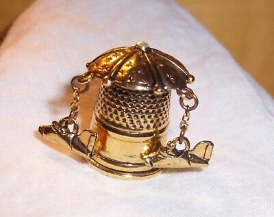 Intricate Spinning Jet Airplane Circus Ride THIMBLE Brass and a jewel on top