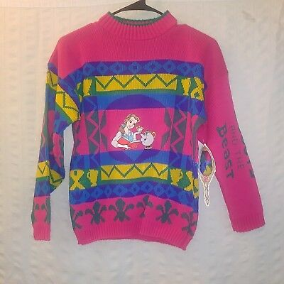 Vintage JJ Poole Beauty And The Beast Sweater Girls Disney Pink no size