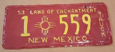 1953 New Mexico Red License Plate