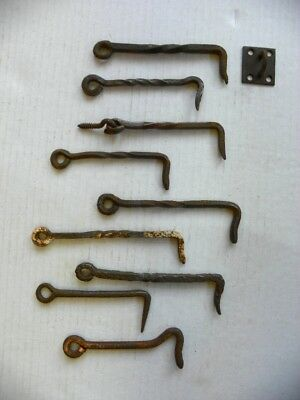 Antique Vintage Hand Forged Twisted Barn Fence Door Latches, Fasteners, Locks