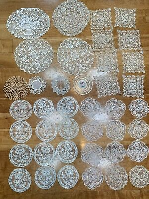 Beautiful Mixed Lot Of 40 Vintage Estate Open Lace Crochet Doilies Coasters
