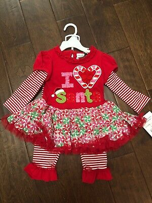 Rare Editions Christmas Dresses.Nwt 2 Pc Christmas Dress With Leggings Outfit Rare Editions 18 Mo I Love Santa