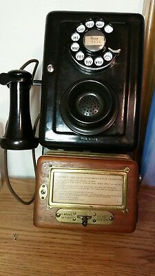 vintage western electric 553C metal wall hotel telephone, with dial, complete.